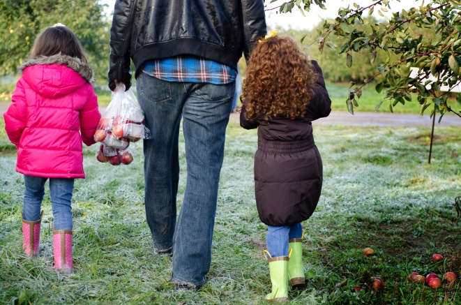 family walks through the apple orchard